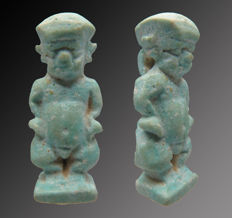 Egyptian faience amulet of Ptaikos - 32 mm