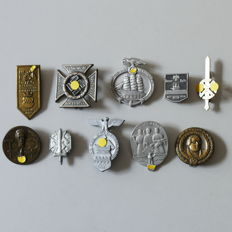 10 Meeting and Gau badges from the German Reich, WW2.