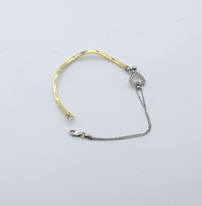 14k yellow and white gold bracelet - 14.5 cm