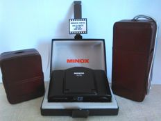 Minox 35EL (in box) + Minox 110S and flash F110 (with the original leather cases for both). Germany (1974).