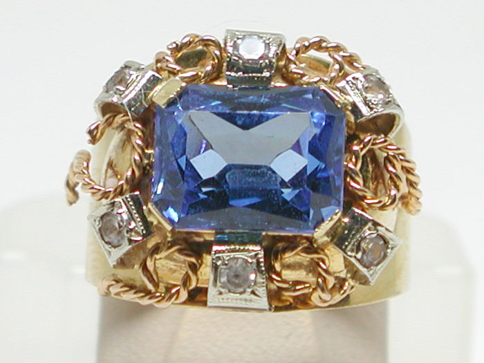 Vintage diamond & topaz cocktail ring total: 4,30ct. 18K yellow & pink gold - Ring size BE 56 // NL 17,75mm