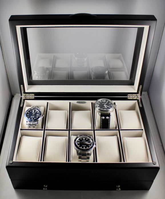 — Luxury Black Woodgrain Watch Box with satin finish — Holds 10 watches with lower drawer — Men — 2011-present