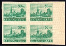 German occupation Estonia 1941 - '50 K with vertical pressed and imperforate in blocks of  four' – Michel 7U III