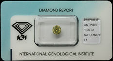 1.05 ct IGI Natural Fancy Greenish Yellow Diamond – NO RESERVE