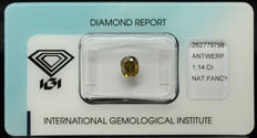 1.14 ct IGI Natural Fancy Deep Greenish brownish Yellow Diamond – LOW RESERVE
