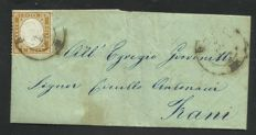 Kingdom of Italy 1862/1863, small lot of three cancelled letters with no. 1, no. 11 and no. 12