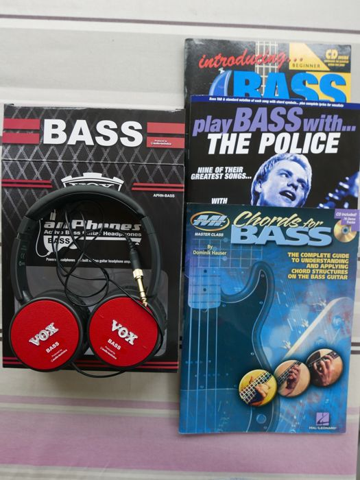 Active bass guitar headphones and 3 textbooks for bass player ...