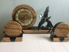 Art Deco style marble clock with two decorative pieces