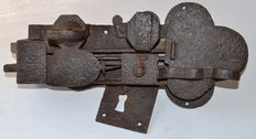 Large lock with complication in wrought iron with 2 bolts  - France - end of the XVII century