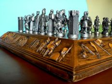 "Cast metal chess: ""Arabs vs. Christians"". Board-box."