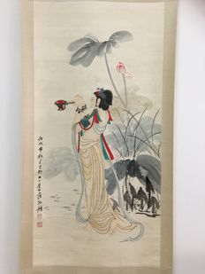 Ink painting, lady with lamp in the hand made after Zhang Daqian - China - late 20th century