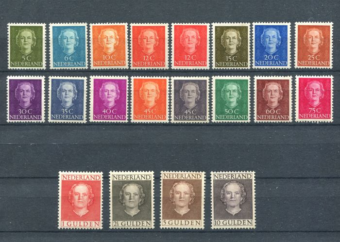 "The Netherlands 1949 – Queen Juliana ""Face Forward"" – NVPH 518/533 + 534/537"