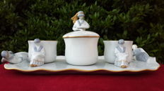 Tray with 2 coffee cups and sugar bowl in glazed ceramic, hand-painted-Liberty San Marco Venice, Italy ca 1930-1944.