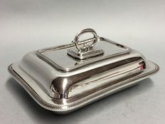 Silver plated double serving tray with removable knob, London, England, ca. 1935