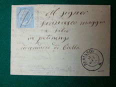 1864 letter – 15 cents light blue stamp (L18), used on letter from Buriasco to Pettinengo – cancelled with pen marks