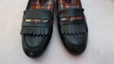 Pepe Jeans by Patrizia Pepe - moccasins with fringes and check fabric