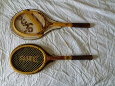 A pair of wooden rackets