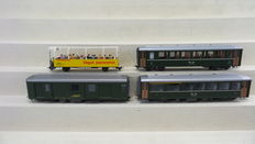 Bemo H0e/H0m - 3280 109/3255 109/269 103/3256 105 - 4 carriages of the De Rhätische Bahn, two passenger carriages and a panoramic carriage an baggage car