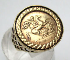 Gold Solid St. George Vintage coin Ring, No Reserve price