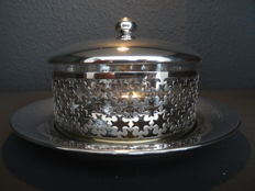 Silver plated openwork caviar - dish with crystal inner tray