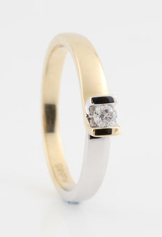 White and yellow 14 kt gold diamond ring 0.20 ct / H / SI2 - size 56.5