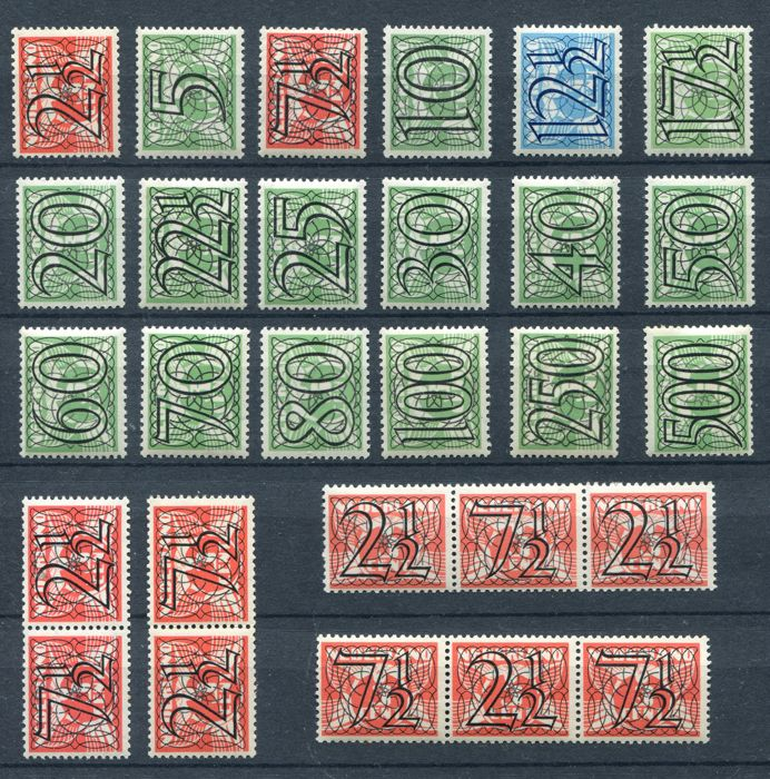 Netherlands 1940 - Number type 'Guilloche' incl, strips - NVPH 356/373 + 356a/d