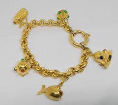 18 kt yellow gold bracelet with five charms - Size: 18 cm