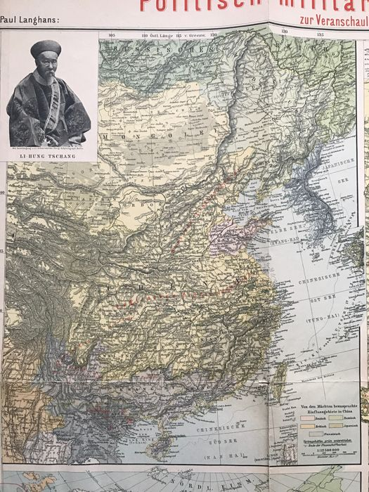 East Asia; Paul Langhans- military political map - 1900 - Catawiki