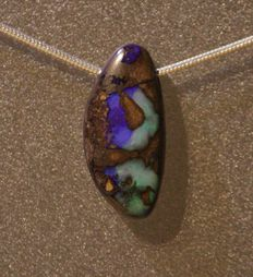 Boulder opal pendant, 27.6 x 12.9 x 6 mm with a snake link chain in silver, 1.2 mm / 45 cm - 925 silver