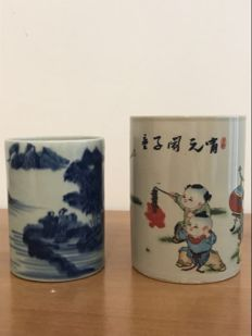 2 Chinese ceramic brush pots – China – Second half of the 20th century