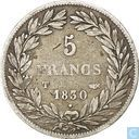 France 5 francs 1830 (Louis Philippe I - Incuse text - T)