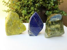 Lot of Mineral freeforms - Lapis Lazuli and Serpentine - 11 to 12 cm - 2274grams (3)