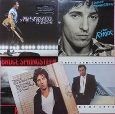 """Great set of 5 albums (10 records)) by Bruce """"The Boss"""" Springsteen, including a 5 lp live box """"Live/1975-85"""", with booklet and double album The River, all VG+/VG+"""