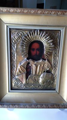 "The icon of Christ with ""rice"" or metal with a hat from Russia"