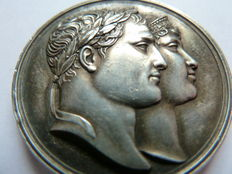 France- medal- Marriage of Napoleon I and Marie-Louise of Austria, 1810 by Andrieu, Brenet and Denon. Silver