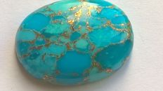 Natural turquoise in blue with gold flakes - 27.8 x 21.67 x 5.97 mm - 27.45 CT