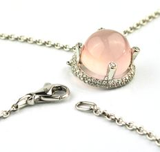 "De Greef Brussels - Light Pink ""Moon Stone"" & 40 Diamonds, 18K White Gold Pendant - Chain Length 41cm"