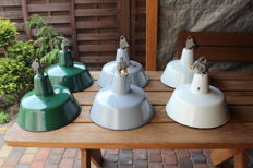 Unkown designer - Polish green enamel industrial  lights ( 6x  )