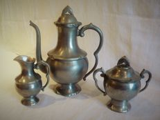 Tin coffee set dated, numbered and stamped Finstain - Coffee pot, milk jug and sugar bowl.