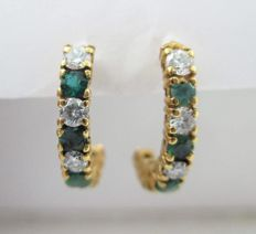 18k gold dangle earrings with diamonds, 0.62 ct with green stones - 2 cm