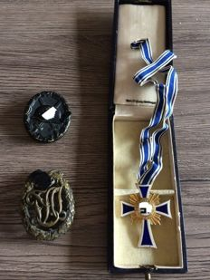 German Reich Lot: one mother cross in gold with box, one black Purple Heart, one Reich sports badge
