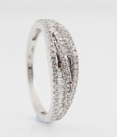 14 kt white gold ring with diamonds of 0.44 ct – 54 (EU)