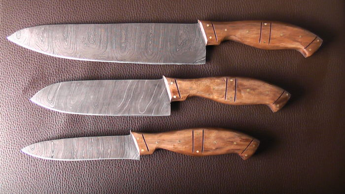 Set of three handcrafted Damask knives - 1 very long/wide chef's knife, 1 middle sized chef's knife, 1 shorter chef's knife - 200 + layers of damask steel