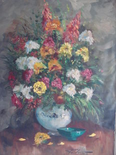 Jean Jacques Foulon, (1923-1980)-flower still life