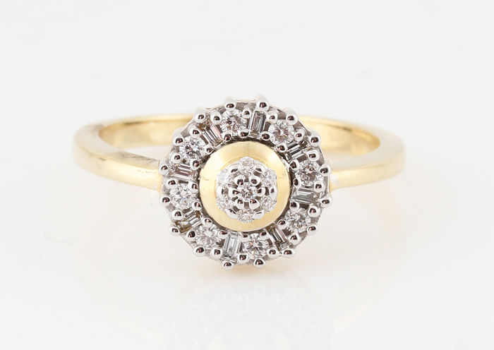 "14 kt yellow and white gold ring with diamonds of 0.25 ct, ring size: 64 & G-H/VS1-SI1 & ""NEW"""