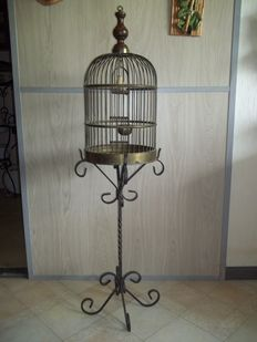 Very old brass bird cage with original wrought iron stand - approx. 1930 - height 135 cm -very good condition