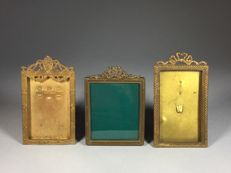Three brass photo frames in Louis XVI style-France-ca. 1900