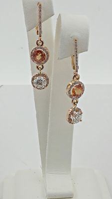 3.20 ct round sapphire & diamond earrings 18 kt rose gold