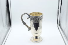 Designer silver mug,  International hallmarked 900