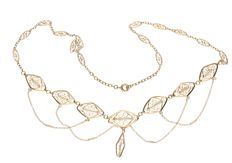 18 kt Yellow gold fine necklace with small white pearls, Length: 45 cm